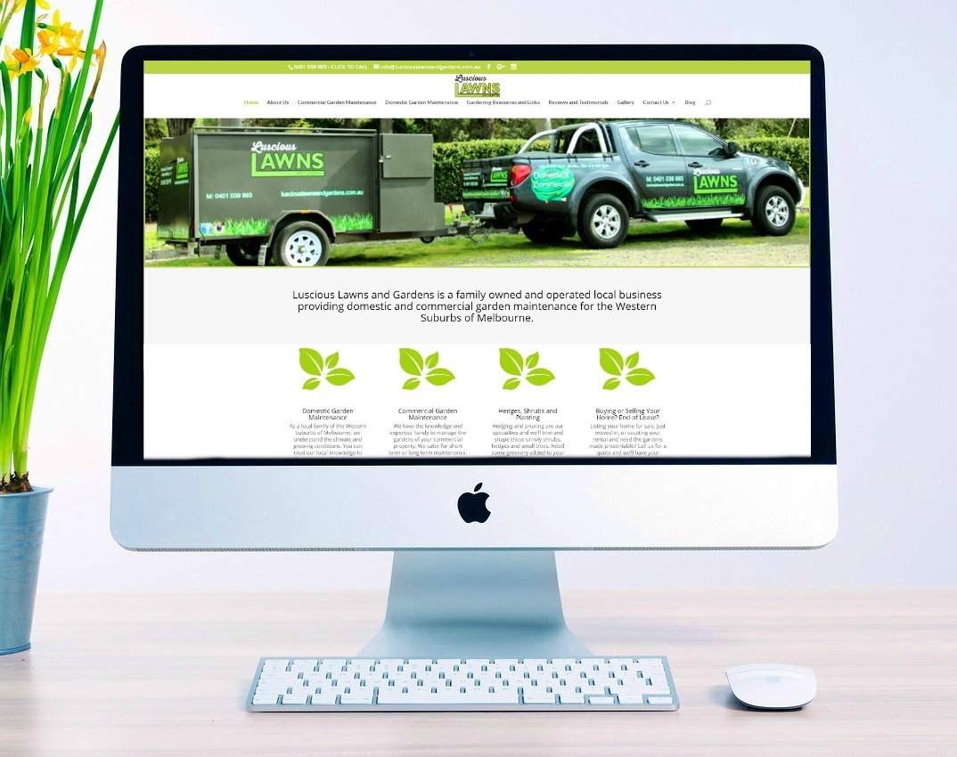 Luscious Lawns and Gardens website build by belinda owen web designs